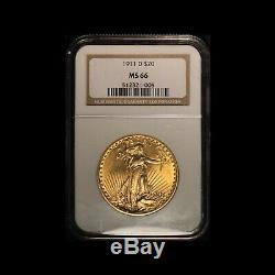 1911-D $20 Gold Augustus Saint Gaudens Double Eagle NGC MS 66 Free Ship USA