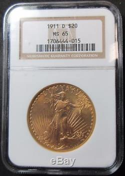 1911-D $20 Saint Gaudens Gold Double Eagle Coin NGC MS65-Beautiful Scarce Gem