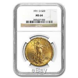 1911-D $20 Saint-Gaudens Gold Double Eagle MS-64 NGC SKU #80120