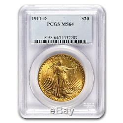 1911-D $20 Saint-Gaudens Gold Double Eagle MS-64 PCGS SKU #18655