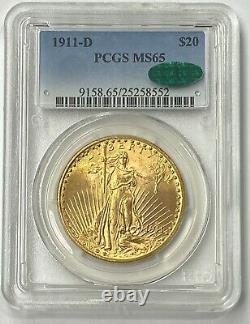 1911-D $20 Saint Gaudens Gold Double Eagle Pre-1933 PCGS MS65 CAC Ultra Flashy