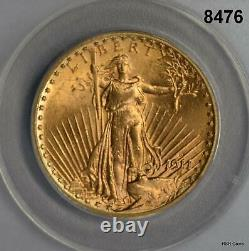 1911 D $20 St. Gaudens Gold Double Eagle Anacs Certified Ms62 Sunset Color #8476