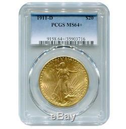 1911-D $20 St. Gaudens Gold Double Eagle PCGS MS64+ Plus