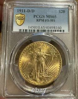 1911 D/D $20 Saint Gaudens Gold Double Eagle PCGS MS 65 FS-501