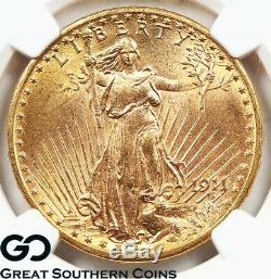 1911-D/D NGC MS 65 Double Eagle, $20 Gold St Gaudens NGC Mint State 65 FS-501