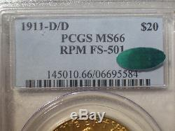 1911-D/D RPM FS-501 $20 GOLD PCGS MS66 CAC St. GAUDENS DOUBLE Eagle Dollar