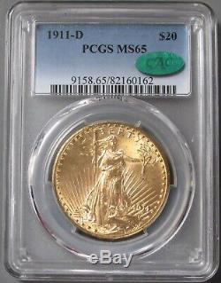 1911 D Gold $20 Saint Gaudens Double Eagle Coin Pcgs Mint State 65 Cac