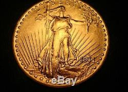 1911 D Gold Saint Gaudens $20, Beautiful Bu Ms Double Eagle Uncirculated Us Coin