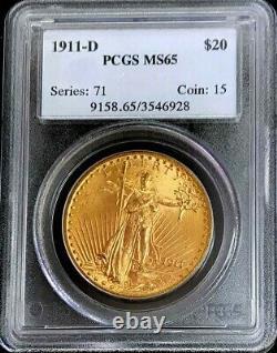 1911 D Gold Us $20 Dollar Saint Gaudens Double Eagle Coin Pcgs Mint State 65