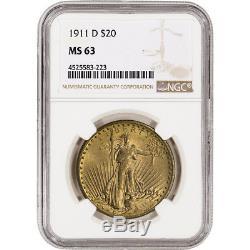 1911-D US Gold $20 Saint-Gaudens Double Eagle NGC MS63
