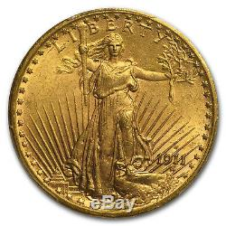 1911-S $20 Saint-Gaudens Gold Double Eagle MS-65 PCGS SKU #68107