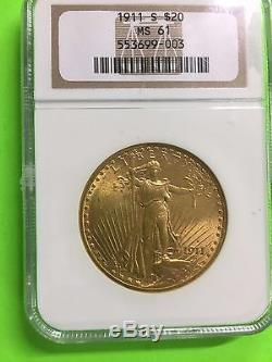 1911 S Gold $20 St. GAUDENS Double Eagle Coin, NGC MS 61 US COIN