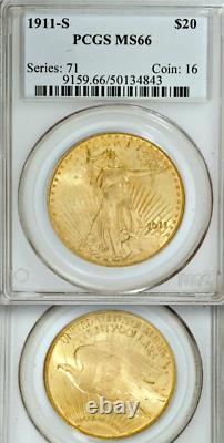 1911-S PCGS MS66 Pop 52/1 Condition Rarity $20 Saint Gaudens Double Eagle