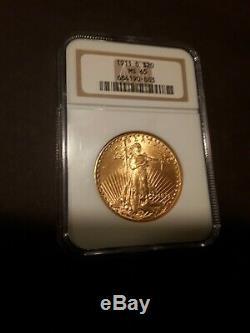 1911-d $20 St. Gaudens Double Eagle Ngc Ms65 Saint Ms-65 Gem