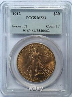 1912 $20 Saint Gaudens Double Eagle Gold Coin PCGS MS64 Free Shipping