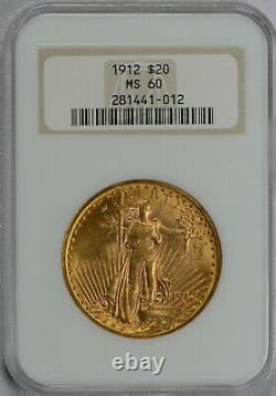 1912 $20 Saint Gaudens Gold Double Eagle NGC graded MS 60! Old fatty holder