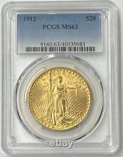 1912-P $20 Saint Gaudens Gold Double Eagle PCGS MS63 Low Mintage Date 149,750