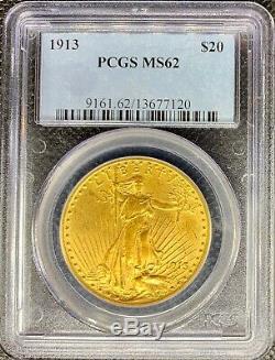 1913 $20 Saint Gaudens American Gold Double Eagle MS62 PCGS Lustrous Coin