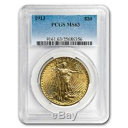 1913 $20 Saint-Gaudens Gold Double Eagle MS-63 PCGS SKU #60450