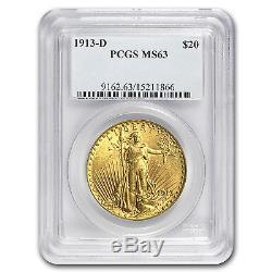 1913-D $20 Saint-Gaudens Gold Double Eagle MS-63 PCGS SKU #10255