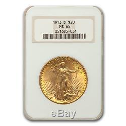 1913-D $20 Saint-Gaudens Gold Double Eagle MS-65 NGC