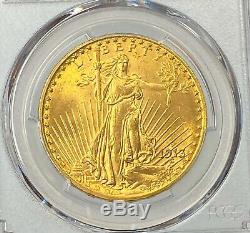 1913-D $20 Saint Gaudens Gold Double Eagle PCGS MS65 RARE Blazing Orange Gem PQ+