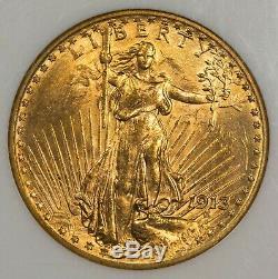 1913 D NGC MS61 St. Gaudens $20 Gold Double Eagle Item#M4984