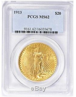 1913-P $20 Saint Gaudens Gold Double Eagle PCGS MS62 A Scarce Date In grade PQ+