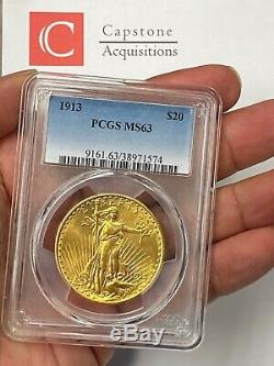 1913-P $20 Saint Gaudens Gold Double Eagle PCGS MS63 An Overlooked Date, Buy Now