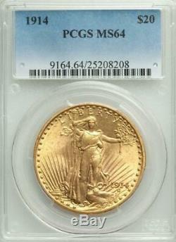 1914 $20 Saint Gaudens Gold Double Eagle PCGS MS 64 Low Mintage