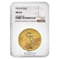 1914 D $20 Gold Saint Gaudens Double Eagle Coin NGC MS 64