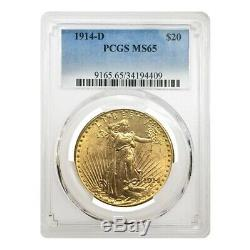 1914 D $20 Gold Saint Gaudens Double Eagle Coin PCGS MS 65