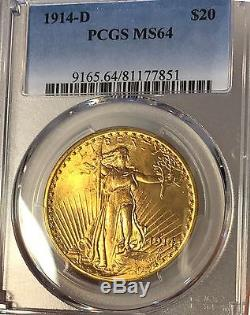 1914-D $20, PCGS MS64 ST GAUDENS DOUBLE EAGLE CERT V RARE, Only 1,957 in MS64
