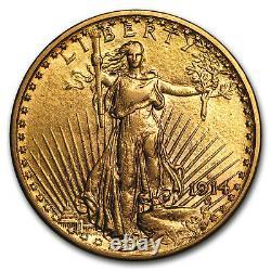 1914-D $20 Saint-Gaudens Gold Double Eagle AU SKU#43978