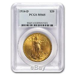 1914-D $20 Saint-Gaudens Gold Double Eagle MS-65 PCGS SKU #21829