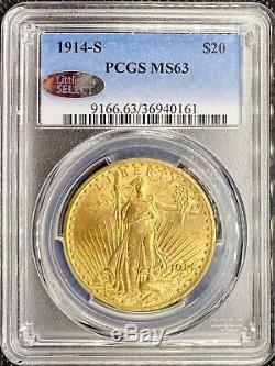 1914-S $20 American Gold Double Eagle Saint Gaudens LITTLETON SELECT MS63 PCGS