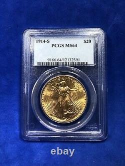 1914 S $20 PCGS MS 64 Gold St. Gaudens Double Eagle, Better Date
