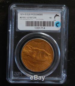 1914-S $20 PCGS MS65 Saint Gaudens Double Eagle Gold Coin Low mintage