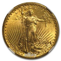 1914-S $20 Saint-Gaudens Gold Double Eagle MS-64 NGC SKU#153633