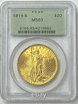 1914-S $20 Saint Gaudens Gold Double Eagle Pre 33 PCGS MS63 Old Green Holder PQ+