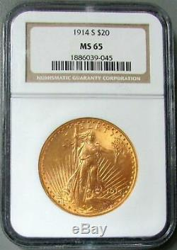 1914 S Gold $20 Saint Gaudens Double Eagle Coin Ngc Mint State 65