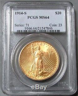 1914 S Gold $20 Saint Gaudens Double Eagle Coin Pcgs Mint State 64