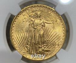 1914-S NGC MS61 $20 Gold Double Eagle Saint Gaudens Great Eye Appeal