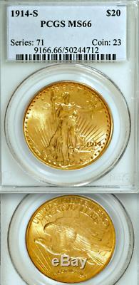 1914-S PCGS MS66 Non-Doctored True MS66 $20 Double Eagle Saint Gaudens