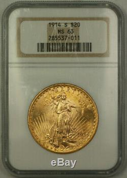 1914-S St. Gaudens $20 Double Eagle Gold Coin NGC MS-63 (B)