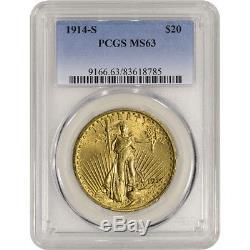 1914-S US Gold $20 Saint-Gaudens Double Eagle PCGS MS63