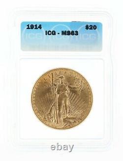 1914 Saint Gaudens ICG MS63 $20 Double Eagle Philadelphia Minted Flashy Coin