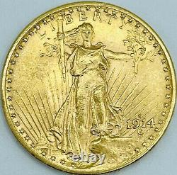 1914-s Uncirculated $20 Saint Gaudens Gold Double Eagle Beautiful Luster