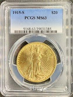1915-S $20 American Gold Double Eagle Saint Gaudens MS63 PCGS LUSTROUS Coin