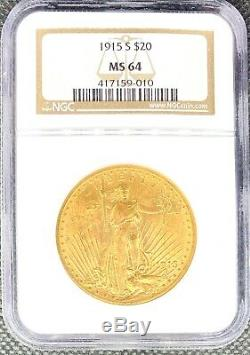 1915-S $20 American Gold Double Eagle Saint Gaudens MS64 NGC Rare/Key Date Coin